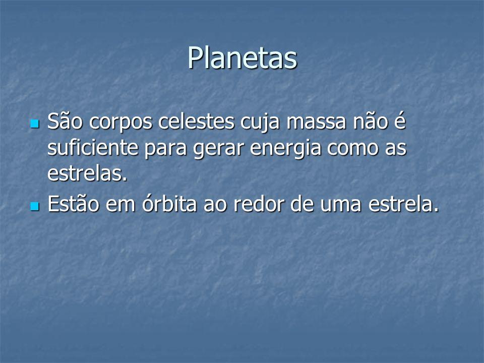 Planetas São corpos celestes cuja massa não é suficiente para gerar energia como as estrelas.