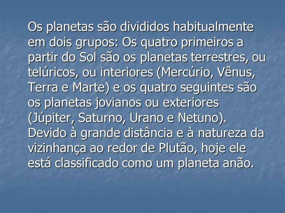 Os planetas são divididos habitualmente em dois grupos: Os quatro primeiros a partir do Sol são os planetas terrestres, ou telúricos, ou interiores (Mercúrio, Vênus, Terra e Marte) e os quatro seguintes são os planetas jovianos ou exteriores (Júpiter, Saturno, Urano e Netuno).