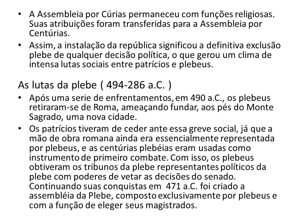 A Assembleia por Cúrias permaneceu com funções religiosas