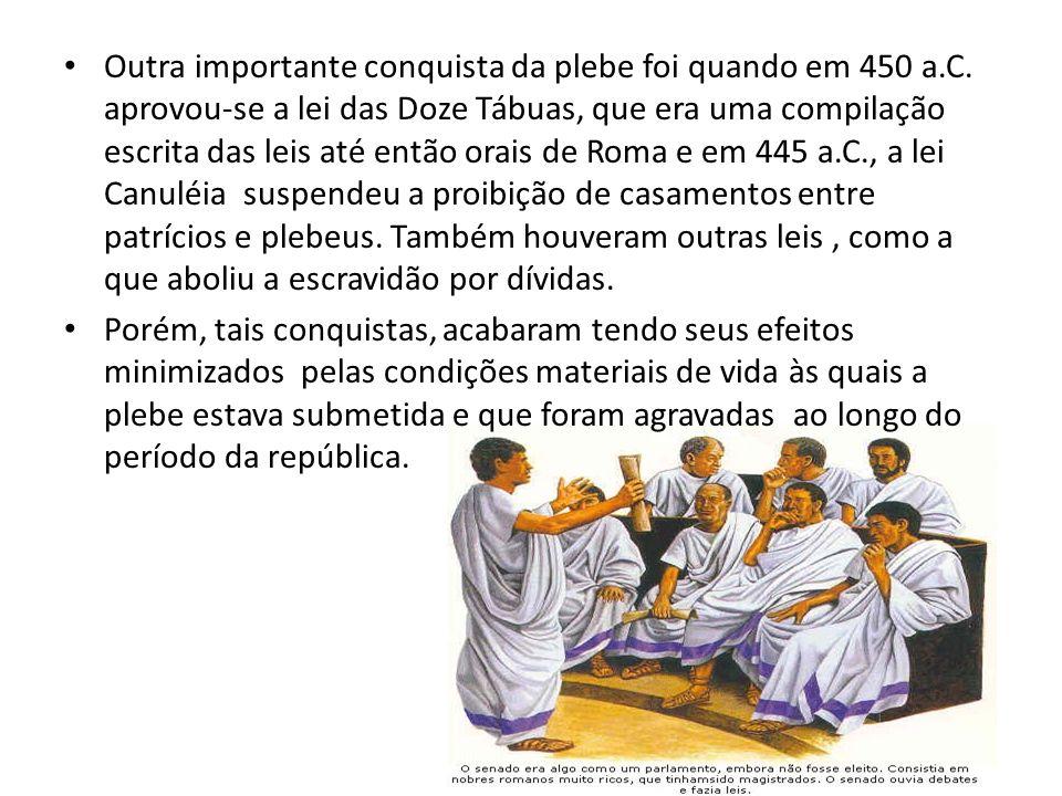 Outra importante conquista da plebe foi quando em 450 a. C