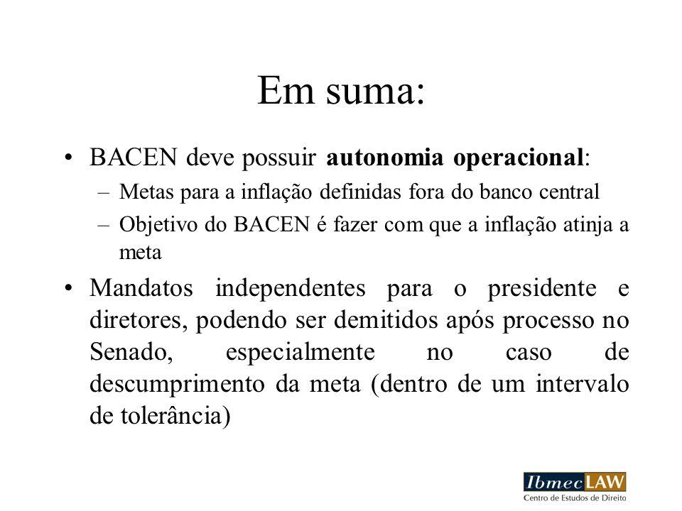 Em suma: BACEN deve possuir autonomia operacional: