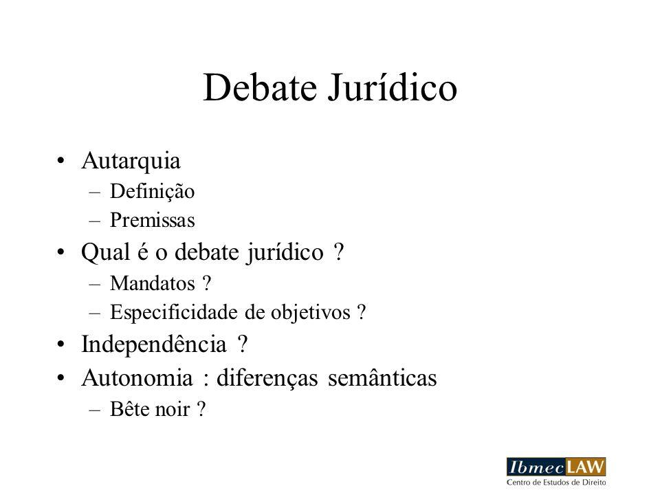 Debate Jurídico Autarquia Qual é o debate jurídico Independência