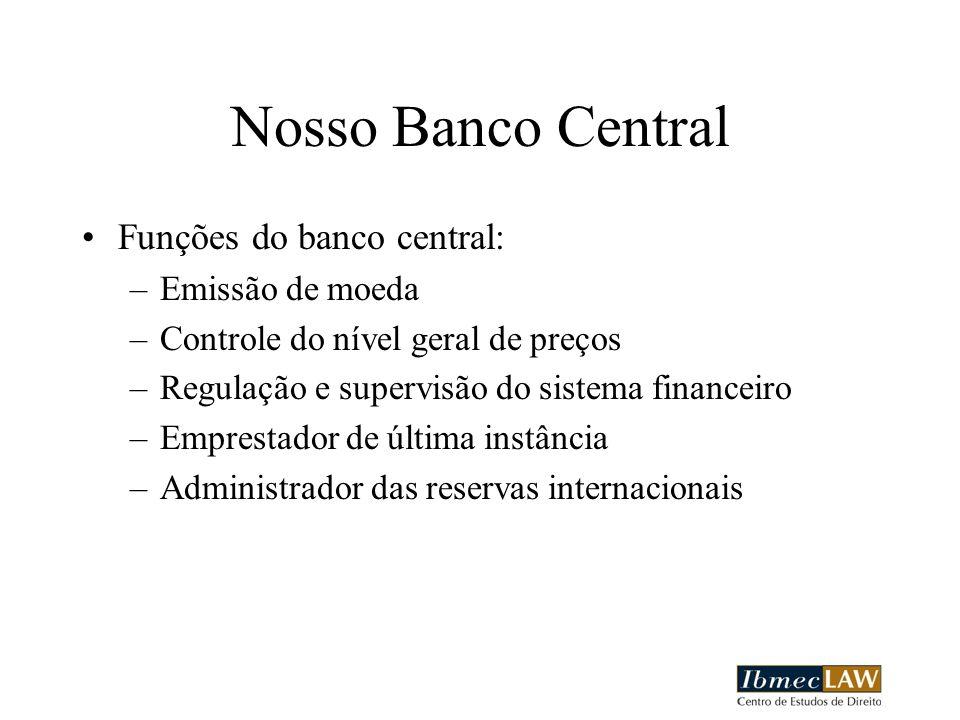 Nosso Banco Central Funções do banco central: Emissão de moeda