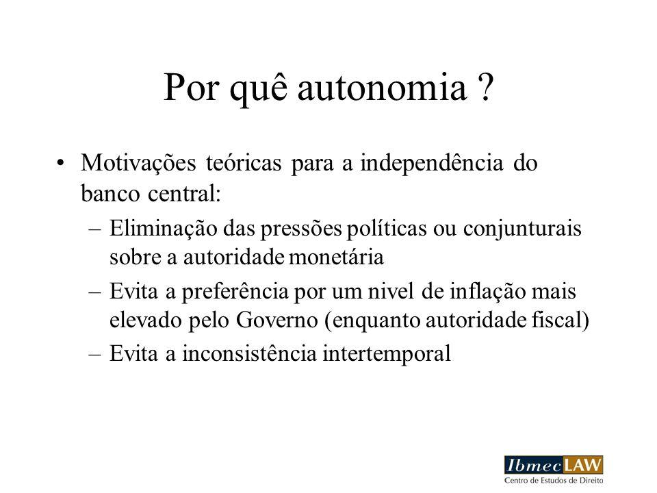 Por quê autonomia Motivações teóricas para a independência do banco central: