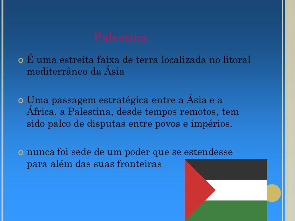 Palestina É uma estreita faixa de terra localizada no litoral mediterrâneo da Ásia.