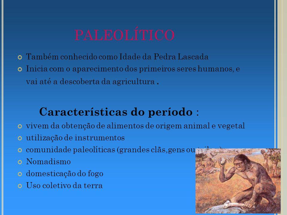 PALEOLÍTICO Características do período :