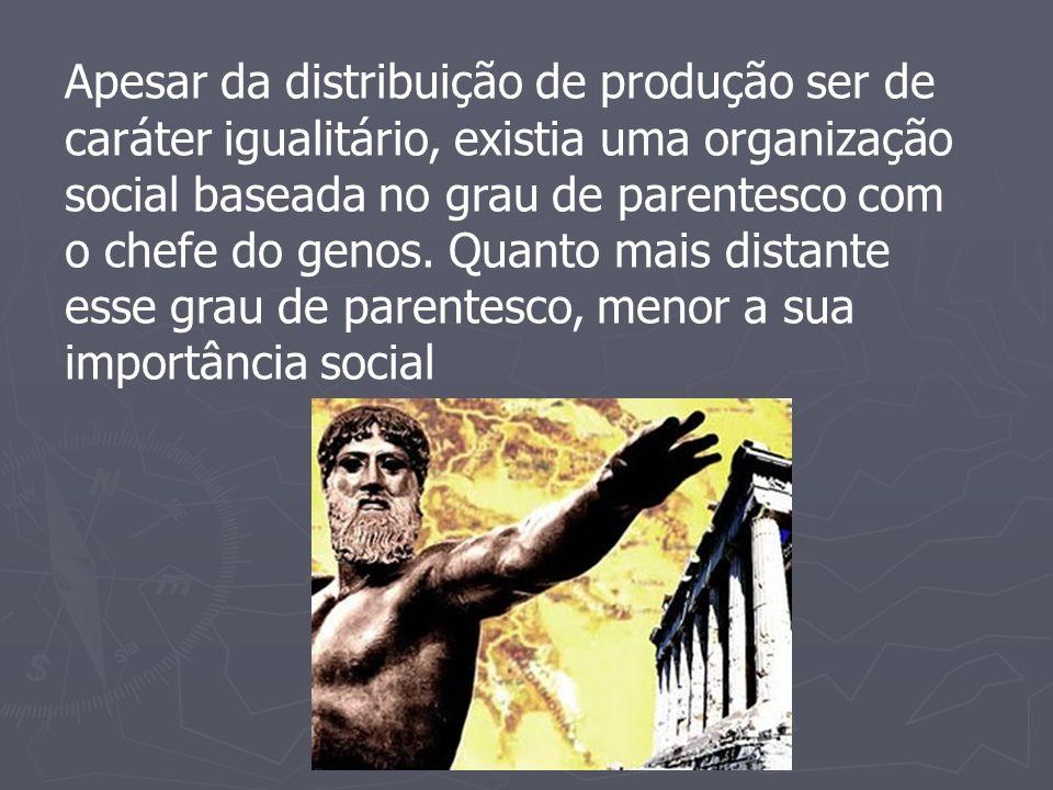 Apesar da distribuição de produção ser de caráter igualitário, existia uma organização social baseada no grau de parentesco com o chefe do genos.