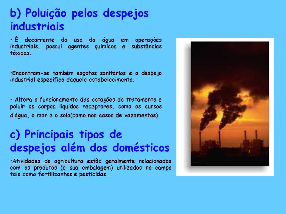 b) Poluição pelos despejos industriais