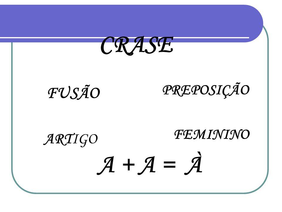 CRASE PREPOSIÇÃO FUSÃO FEMININO ARTIGO A + A = À