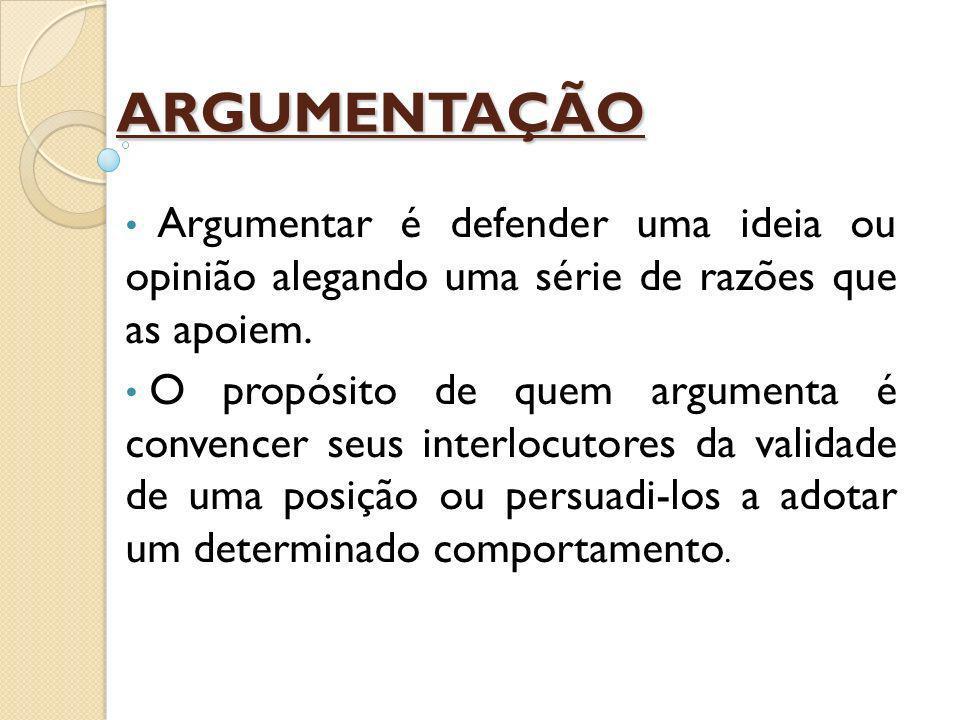 ARGUMENTAÇÃO Argumentar é defender uma ideia ou opinião alegando uma série de razões que as apoiem.