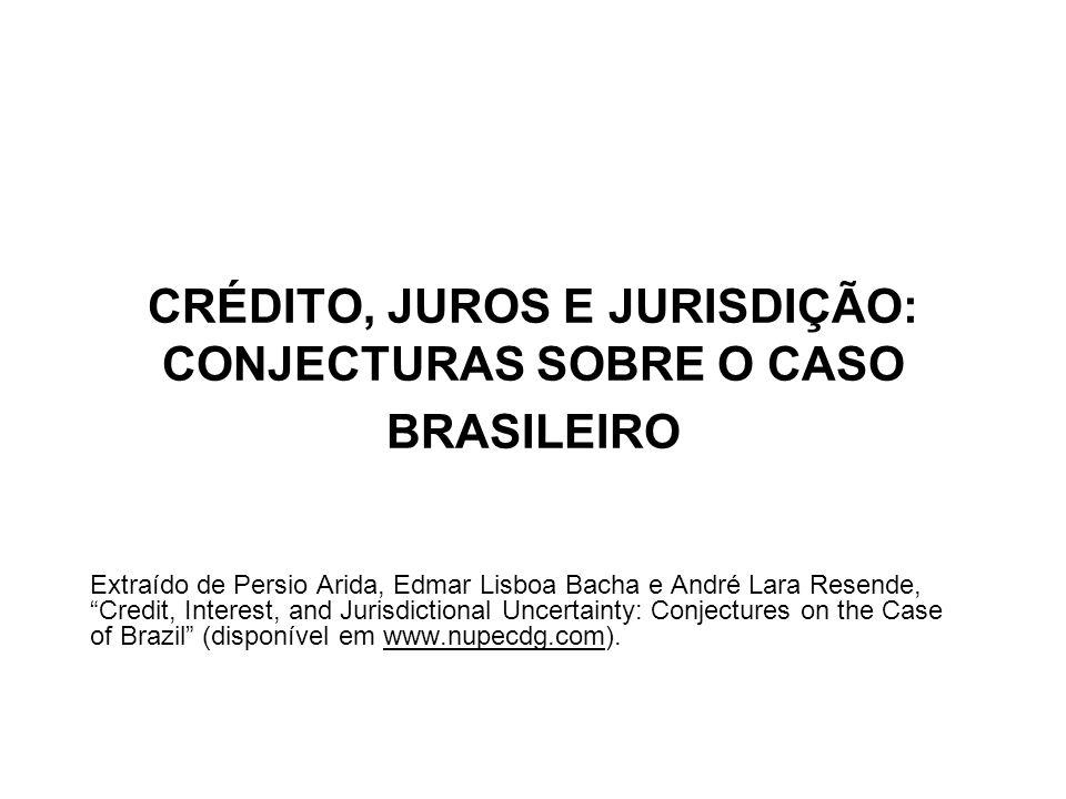 CRÉDITO, JUROS E JURISDIÇÃO: CONJECTURAS SOBRE O CASO BRASILEIRO