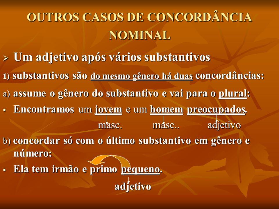 OUTROS CASOS DE CONCORDÂNCIA NOMINAL