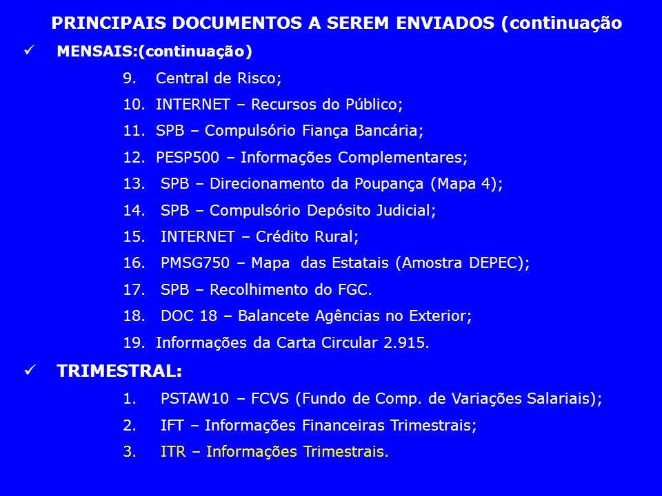 PRINCIPAIS DOCUMENTOS A SEREM ENVIADOS (continuação