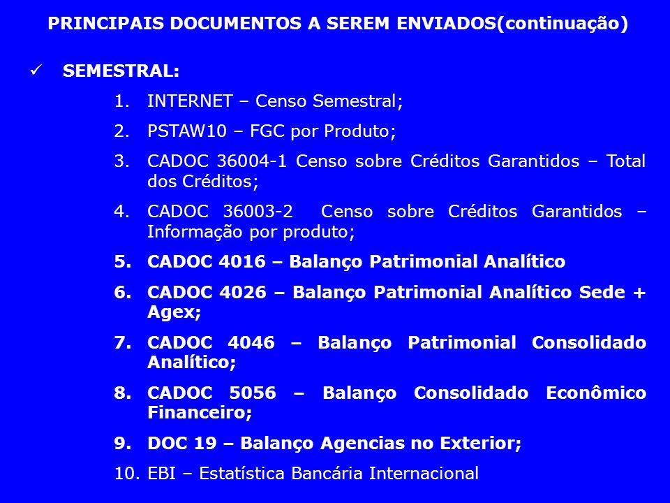 PRINCIPAIS DOCUMENTOS A SEREM ENVIADOS(continuação)