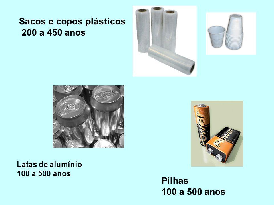 Sacos e copos plásticos 200 a 450 anos