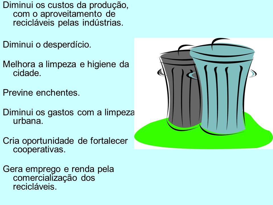 Diminui os custos da produção, com o aproveitamento de recicláveis pelas indústrias.