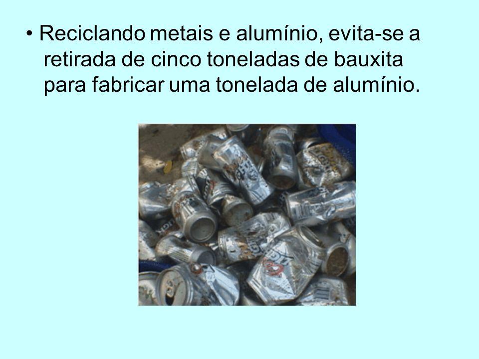 • Reciclando metais e alumínio, evita-se a retirada de cinco toneladas de bauxita para fabricar uma tonelada de alumínio.