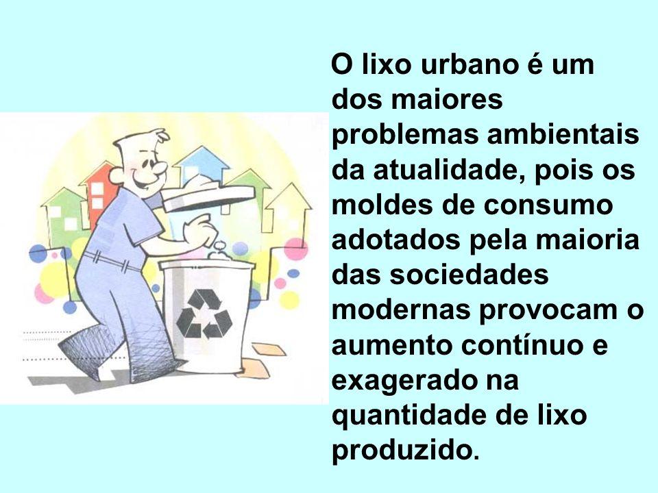 O lixo urbano é um dos maiores problemas ambientais da atualidade, pois os moldes de consumo adotados pela maioria das sociedades modernas provocam o aumento contínuo e exagerado na quantidade de lixo produzido.