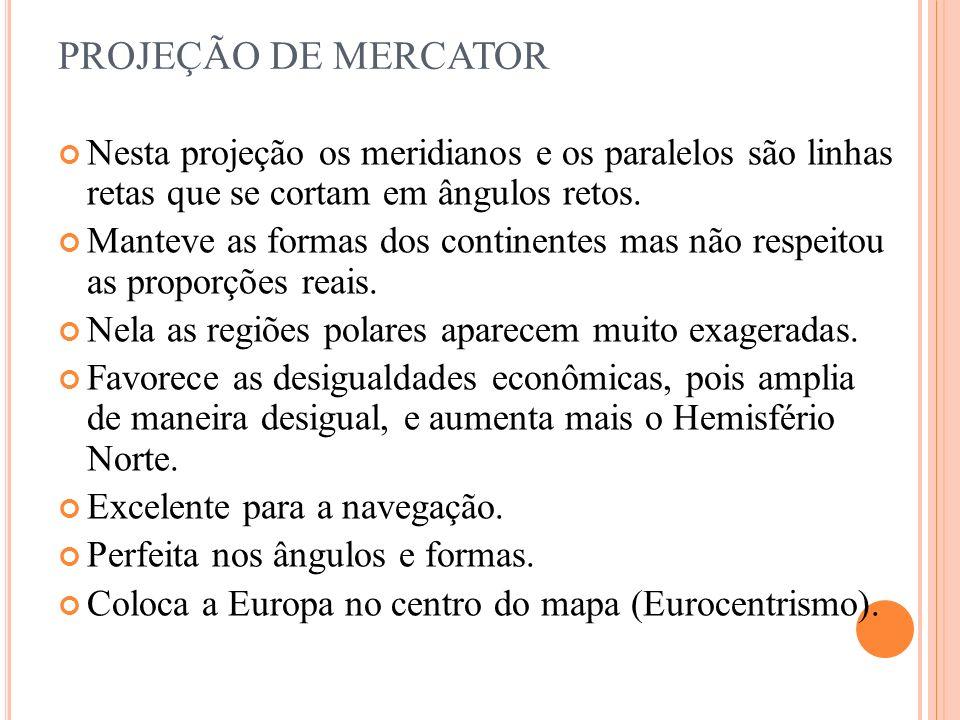 PROJEÇÃO DE MERCATORNesta projeção os meridianos e os paralelos são linhas retas que se cortam em ângulos retos.