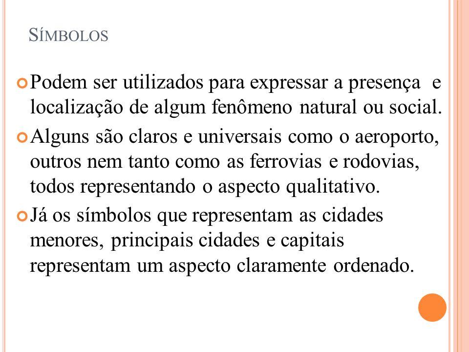 SímbolosPodem ser utilizados para expressar a presença e localização de algum fenômeno natural ou social.
