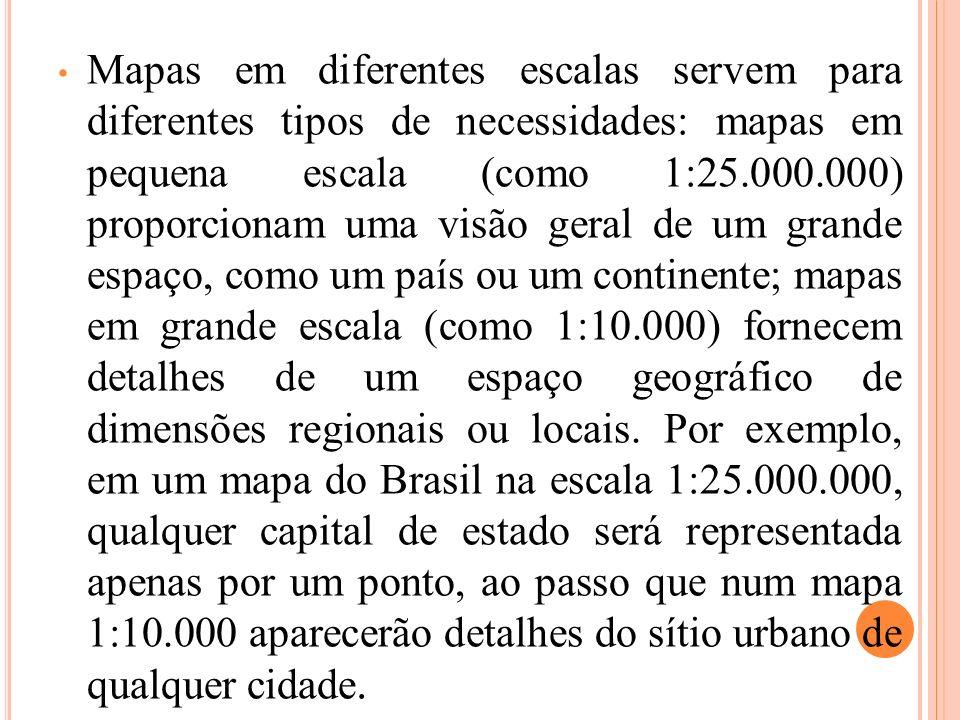 Mapas em diferentes escalas servem para diferentes tipos de necessidades: mapas em pequena escala (como 1:25.000.000) proporcionam uma visão geral de um grande espaço, como um país ou um continente; mapas em grande escala (como 1:10.000) fornecem detalhes de um espaço geográfico de dimensões regionais ou locais.