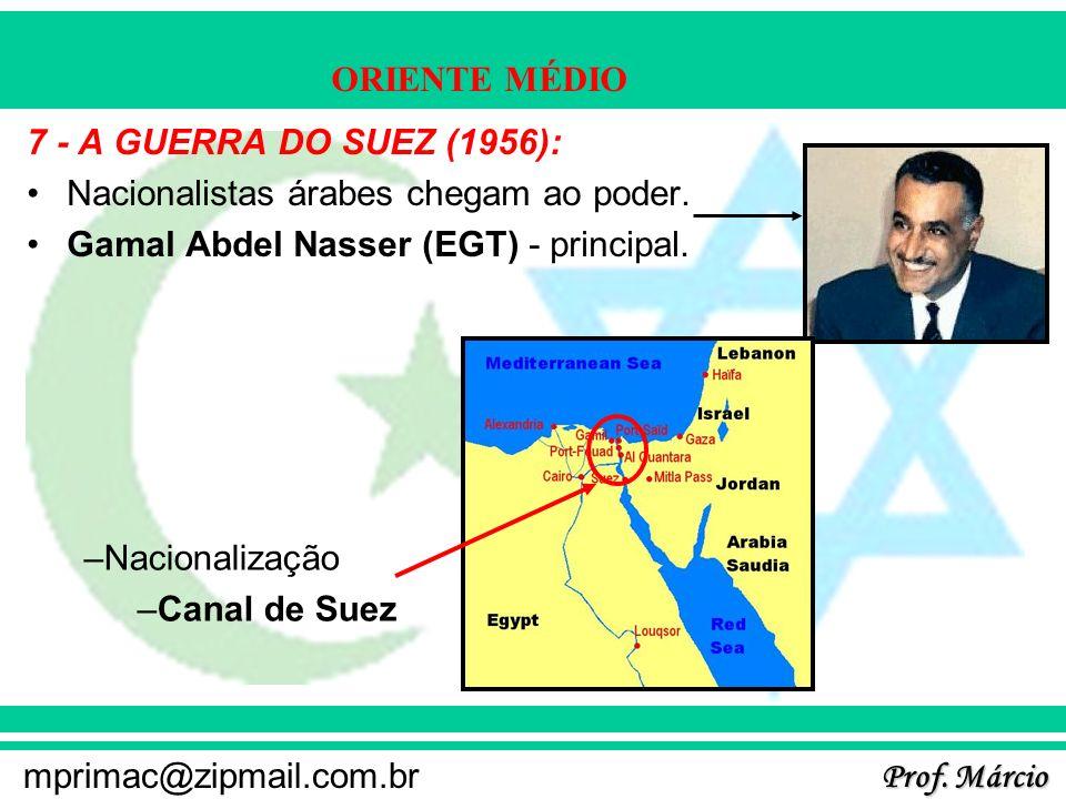 7 - A GUERRA DO SUEZ (1956): Nacionalistas árabes chegam ao poder. Gamal Abdel Nasser (EGT) - principal.