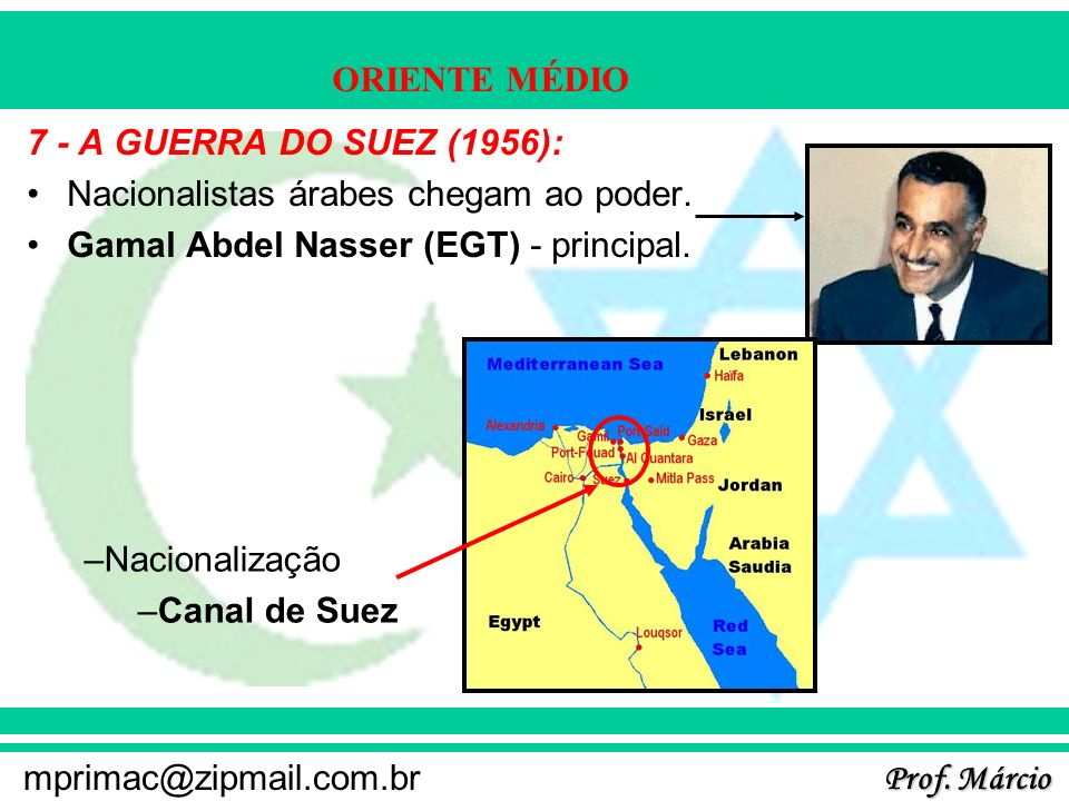 7 - A GUERRA DO SUEZ (1956):Nacionalistas árabes chegam ao poder. Gamal Abdel Nasser (EGT) - principal.