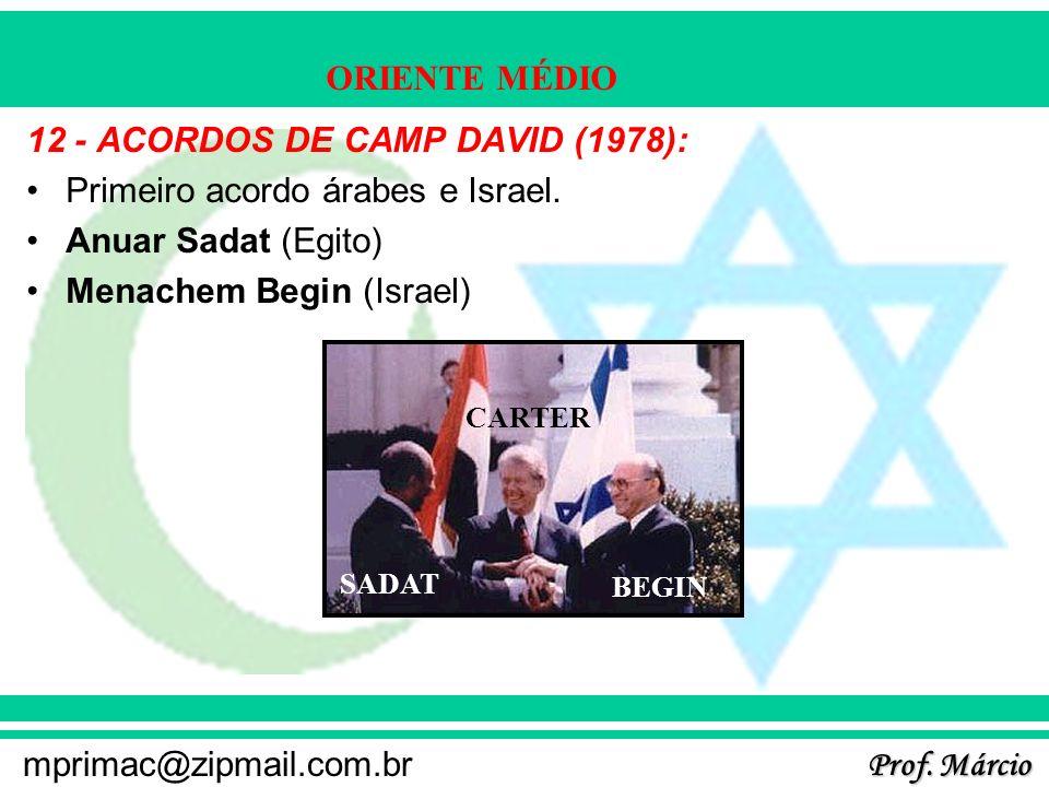 12 - ACORDOS DE CAMP DAVID (1978): Primeiro acordo árabes e Israel.