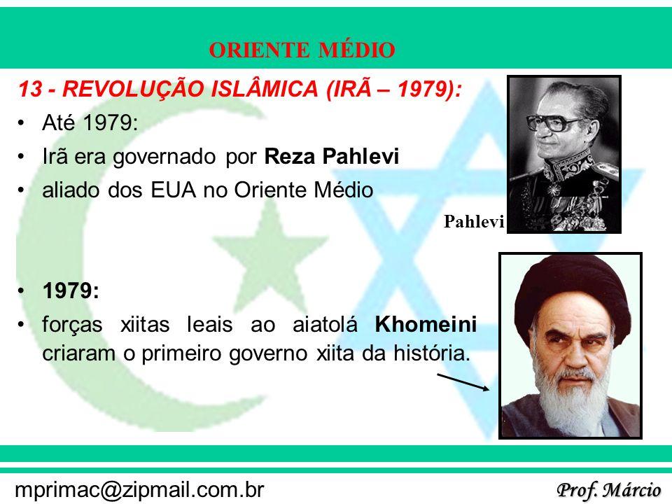 13 - REVOLUÇÃO ISLÂMICA (IRÃ – 1979): Até 1979: