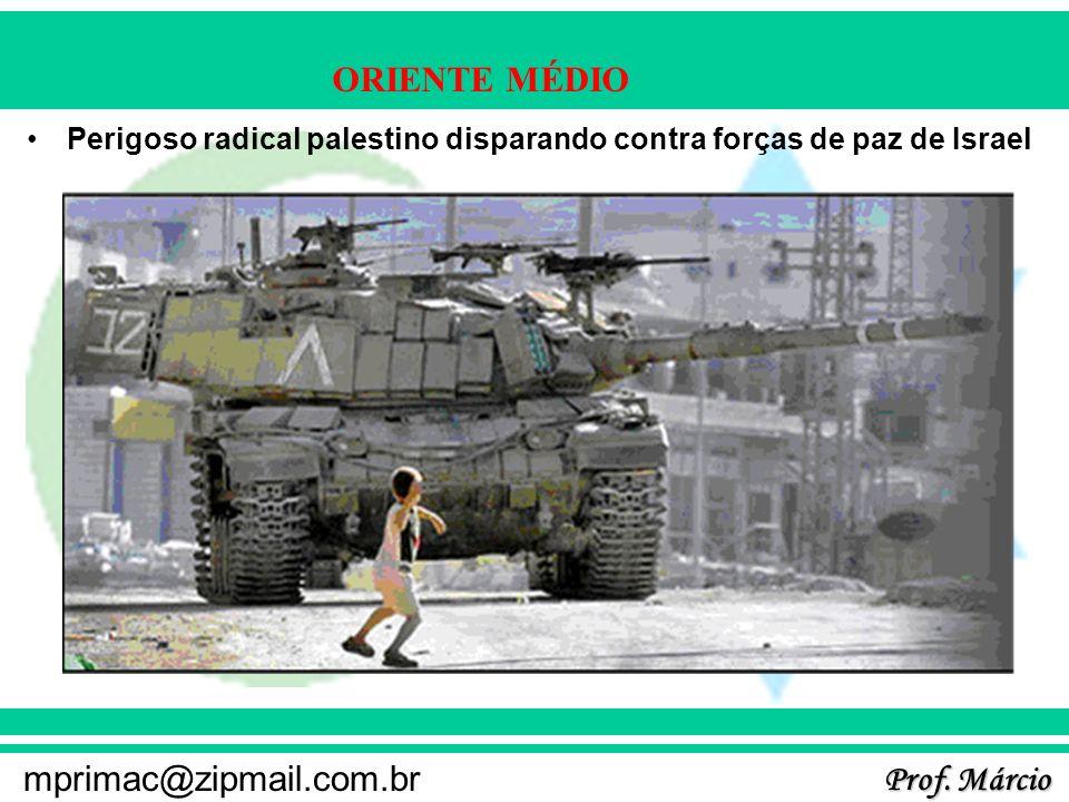 Perigoso radical palestino disparando contra forças de paz de Israel