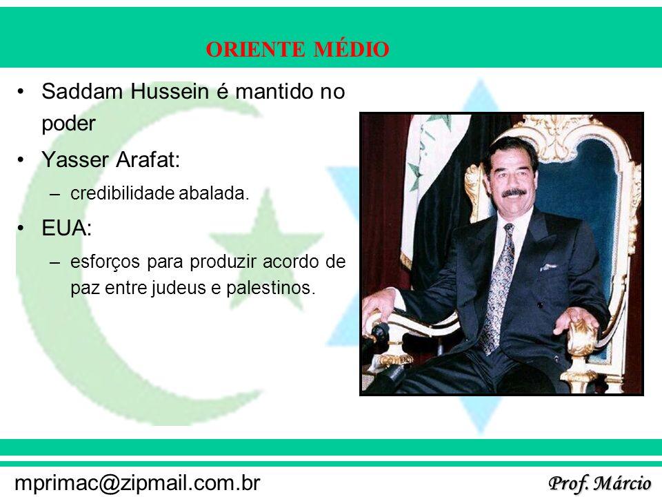Saddam Hussein é mantido no poder Yasser Arafat: