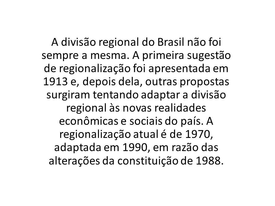A divisão regional do Brasil não foi sempre a mesma