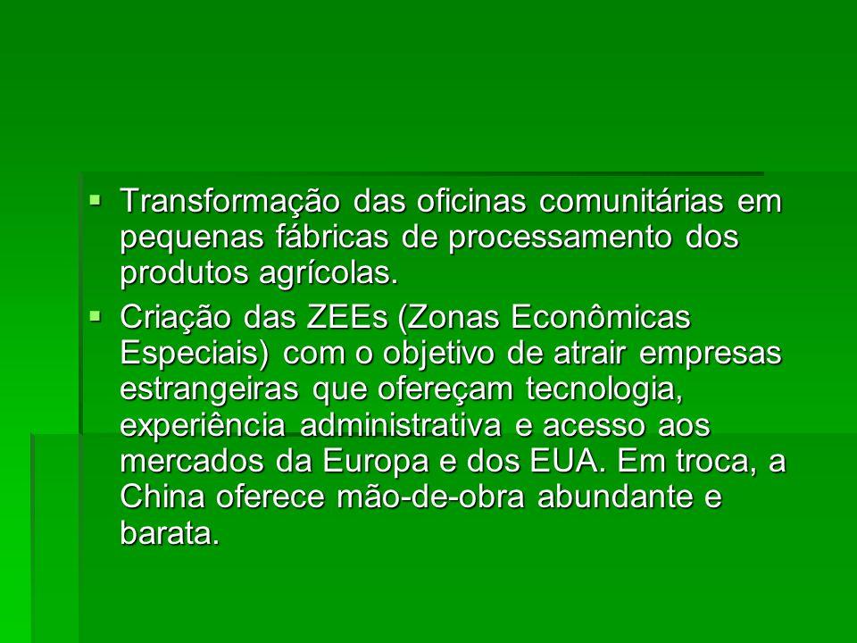 Transformação das oficinas comunitárias em pequenas fábricas de processamento dos produtos agrícolas.