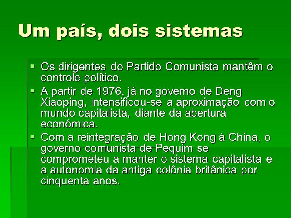 Um país, dois sistemas Os dirigentes do Partido Comunista mantêm o controle político.