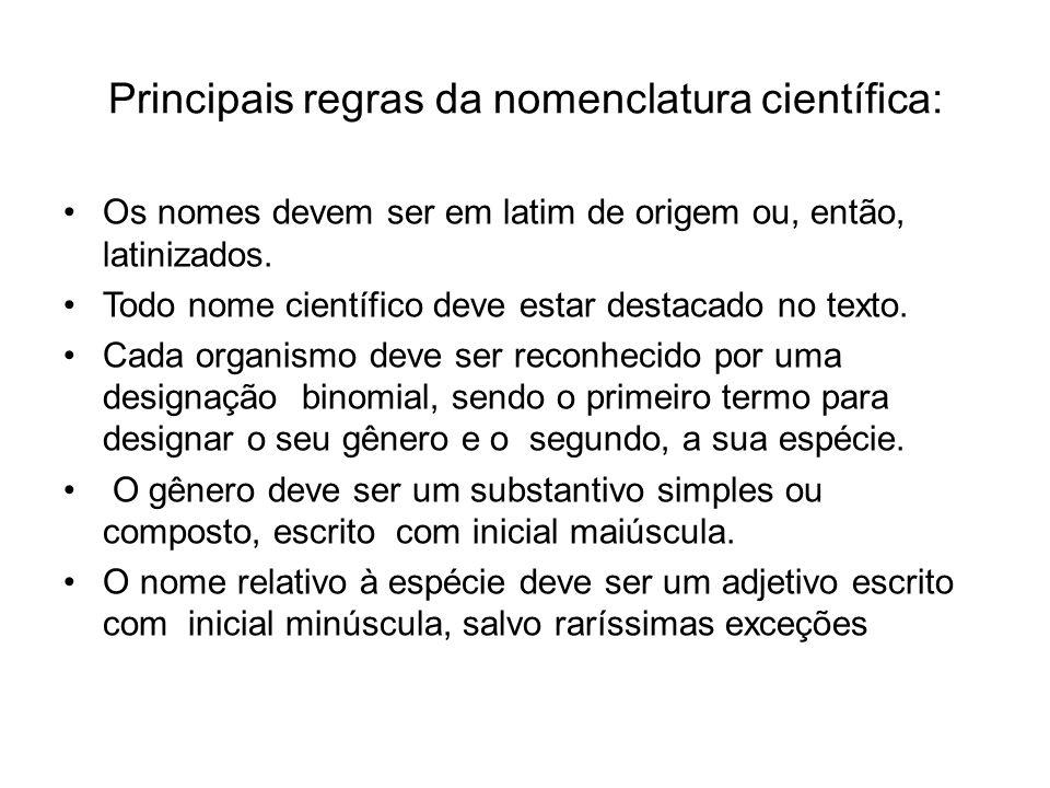 Principais regras da nomenclatura científica: