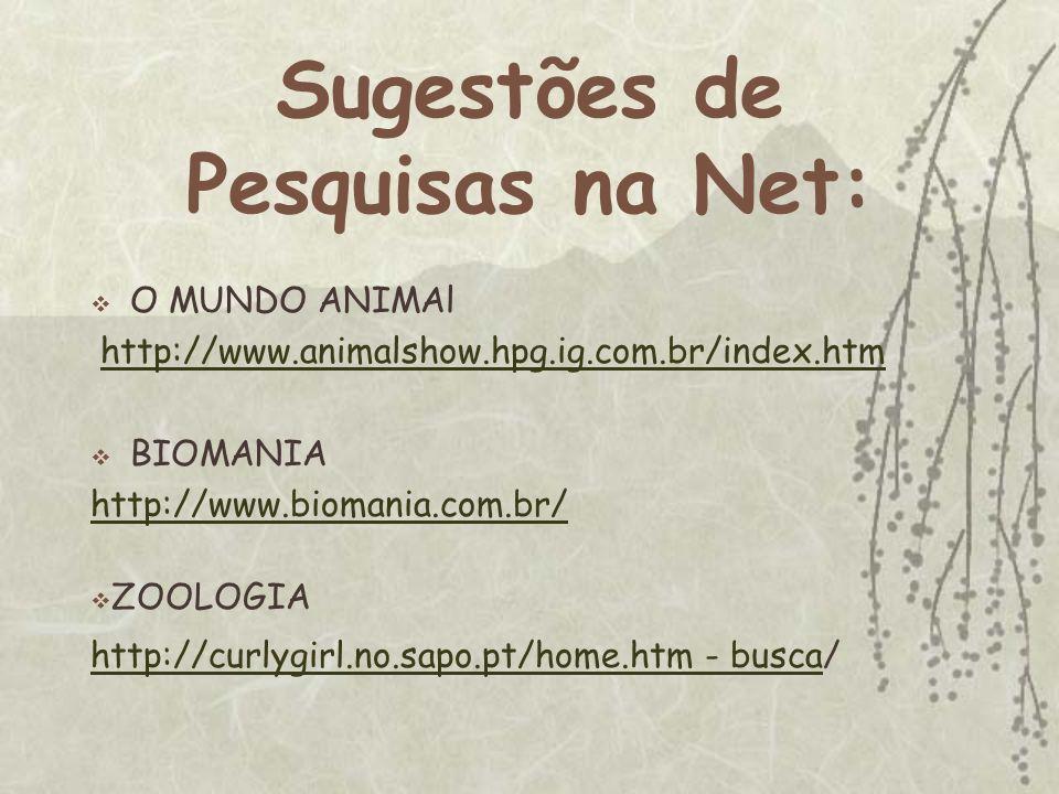 Sugestões de Pesquisas na Net: