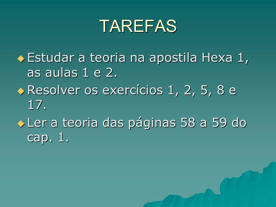 TAREFAS Estudar a teoria na apostila Hexa 1, as aulas 1 e 2.