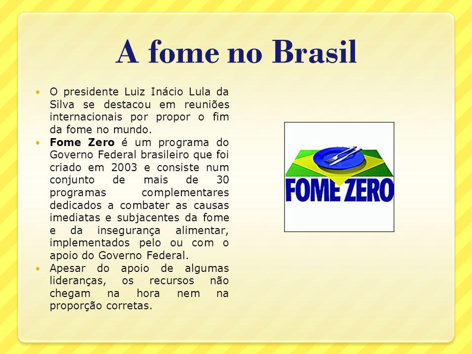 A fome no BrasilO presidente Luiz Inácio Lula da Silva se destacou em reuniões internacionais por propor o fim da fome no mundo.