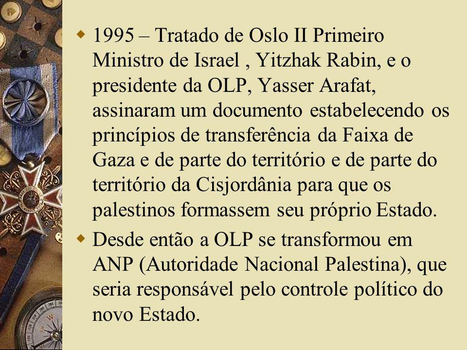 1995 – Tratado de Oslo II Primeiro Ministro de Israel , Yitzhak Rabin, e o presidente da OLP, Yasser Arafat, assinaram um documento estabelecendo os princípios de transferência da Faixa de Gaza e de parte do território e de parte do território da Cisjordânia para que os palestinos formassem seu próprio Estado.