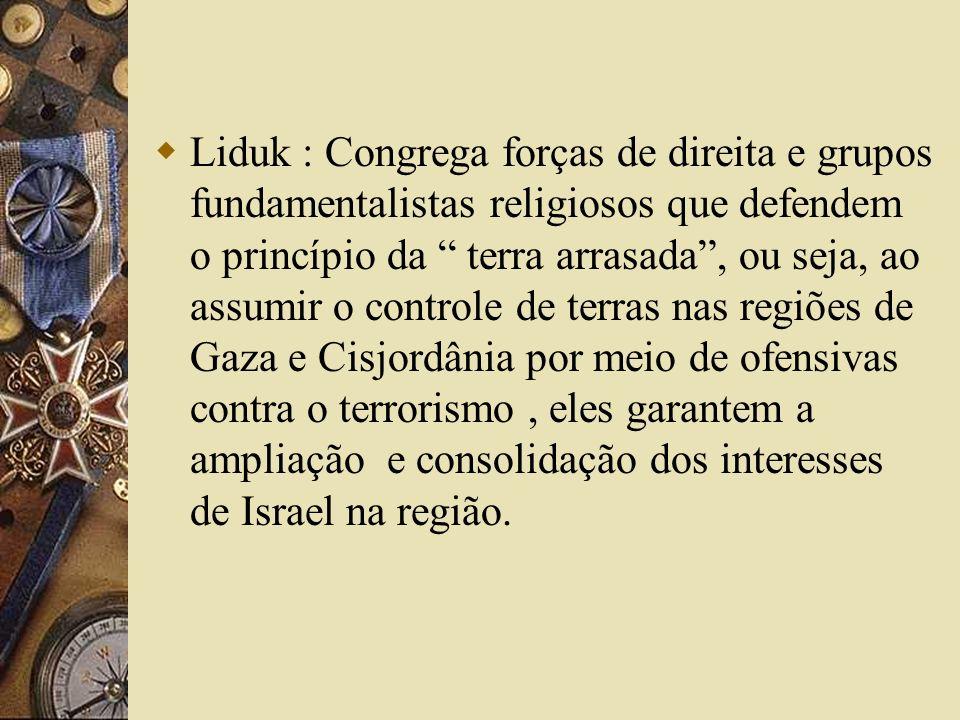 Liduk : Congrega forças de direita e grupos fundamentalistas religiosos que defendem o princípio da terra arrasada , ou seja, ao assumir o controle de terras nas regiões de Gaza e Cisjordânia por meio de ofensivas contra o terrorismo , eles garantem a ampliação e consolidação dos interesses de Israel na região.