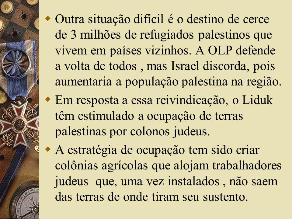 Outra situação difícil é o destino de cerce de 3 milhões de refugiados palestinos que vivem em países vizinhos. A OLP defende a volta de todos , mas Israel discorda, pois aumentaria a população palestina na região.