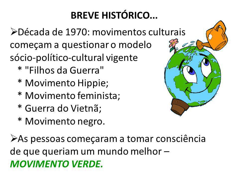 BREVE HISTÓRICO...Década de 1970: movimentos culturais começam a questionar o modelo sócio-político-cultural vigente.