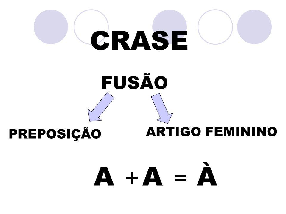 CRASE FUSÃO ARTIGO FEMININO PREPOSIÇÃO A + A = À