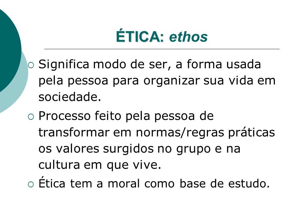 ÉTICA: ethos Significa modo de ser, a forma usada pela pessoa para organizar sua vida em sociedade.