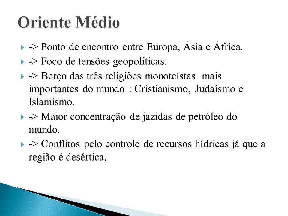 Oriente Médio -> Ponto de encontro entre Europa, Ásia e África.