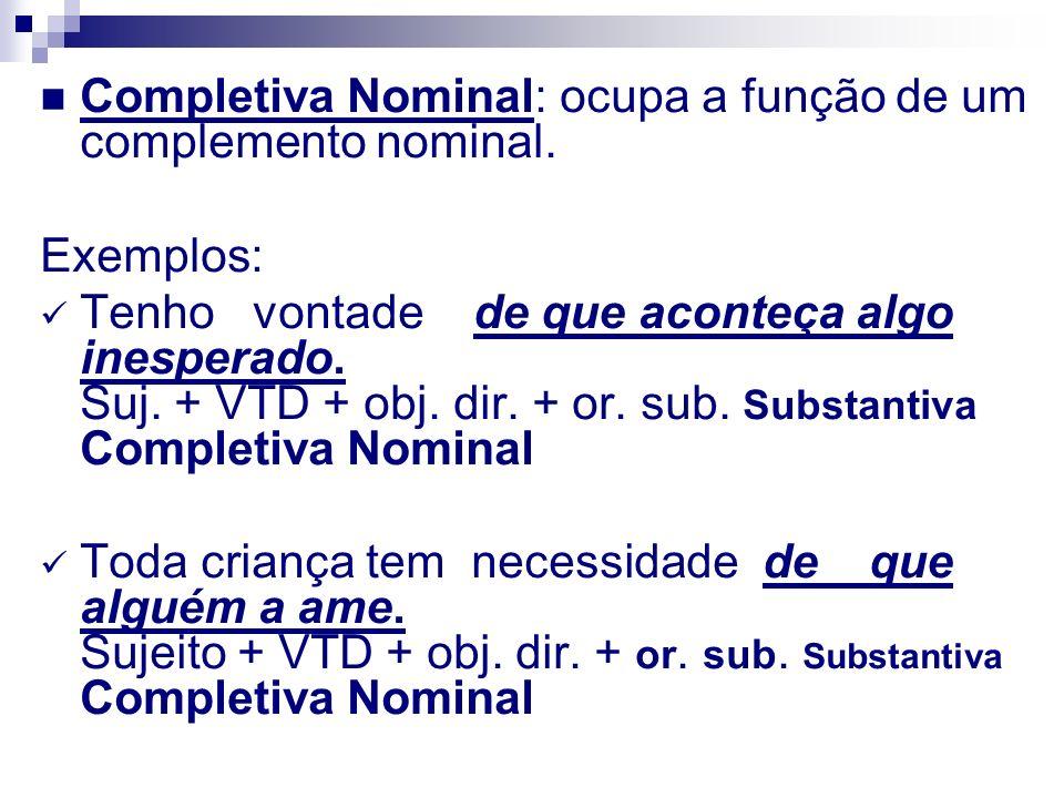 Completiva Nominal: ocupa a função de um complemento nominal.