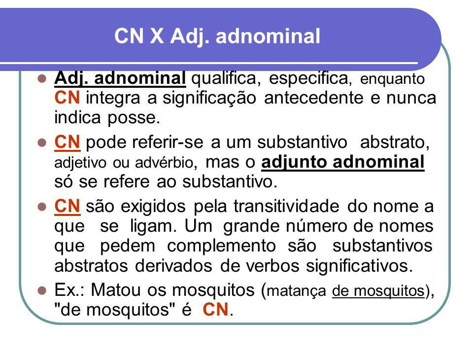 CN X Adj. adnominal Adj. adnominal qualifica, especifica, enquanto CN integra a significação antecedente e nunca indica posse.