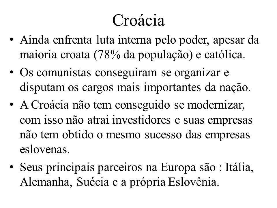 CroáciaAinda enfrenta luta interna pelo poder, apesar da maioria croata (78% da população) e católica.