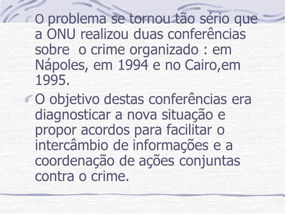 O problema se tornou tão sério que a ONU realizou duas conferências sobre o crime organizado : em Nápoles, em 1994 e no Cairo,em 1995.