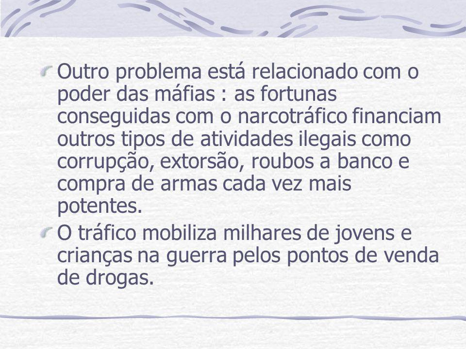 Outro problema está relacionado com o poder das máfias : as fortunas conseguidas com o narcotráfico financiam outros tipos de atividades ilegais como corrupção, extorsão, roubos a banco e compra de armas cada vez mais potentes.
